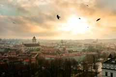 Vilnius. Old city panorama at sunset, view from Gediminas tower stock photos