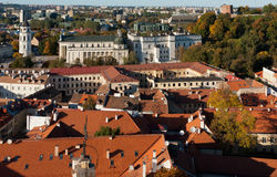 Vilnius Old Town. View from the st. Jonu church tower. You can see the Cathedral of Vilnius, the Royal Palace, Gediminas Tower. Lithuania Royalty Free Stock Images
