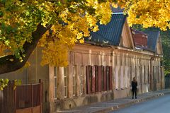 Vilnius Old Town at autumn. The Old Town of Vilnius one of the largest surviving medieval old towns in Northern Europe stock image