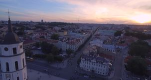 Vilnius Old Town Cathedral Square and Hill of Three Crosses in Background. Lithuania. Sunset Time Light stock video