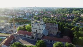 Vilnius old town with church of the Ascension and Uzupis Republic in Background.  stock video footage