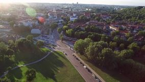 Vilnius old town with church of the Ascension and Uzupis Republic in Background.  stock video