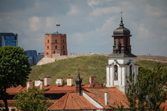 Vilnius old town cityscape with Gediminas castle and modern offi Royalty Free Stock Photo