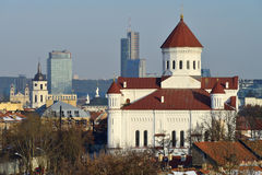 Vilnius old town. Cityscape, winter morning stock images
