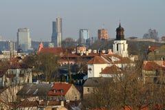 Vilnius old town. Cityscape, winter morning stock photos