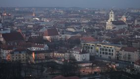 Vilnius Old Town at dawn time stock footage