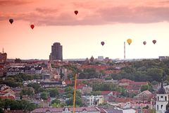 Vilnius Old town from its hills with air balloons Royalty Free Stock Images