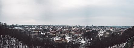 Vilnius old town panorama. Good view on city. From high point at winter season stock images