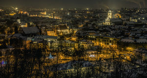 Vilnius old town panorama at night Royalty Free Stock Photography
