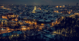 Vilnius old town panorama at night Stock Images