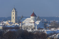 Vilnius old town panorama in winter with Orthodox church of the royalty free stock image