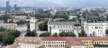 Vilnius old town. Panoramic view, Vilnius old town . Belfry, Vilnius Cathedral church stock images