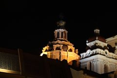 Vilnius old town roofs at night. The best time to see Vilnius not sunny days is nighttime! Every architectural memorial is even better at that time! Come and see Royalty Free Stock Images