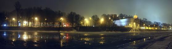 Vilnius panorama at night Stock Photos