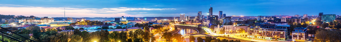 Vilnius panorama night scene Stock Photography