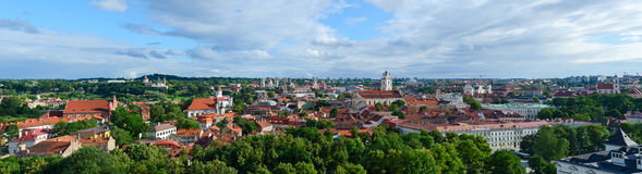 Vilnius, panoramic view of Old City from Mount of Gediminas Royalty Free Stock Photo