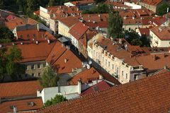 Vilnius roofs close-up, Lithuania, June 2016 royalty free stock image