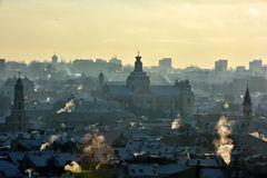 Vilnius Roofs Winter View Stock Images