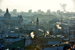 Vilnius roofs winter view royalty free stock image