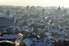 Vilnius roofs winter view royalty free stock photos