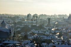 Vilnius roofs winter view stock photo
