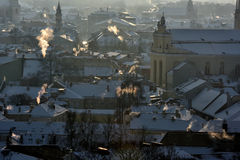 Vilnius roofs winter view royalty free stock photography