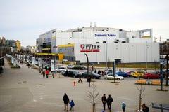 Vilnius Siemens arena external view on spring Royalty Free Stock Photos