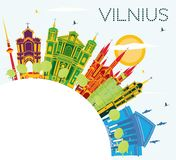 Vilnius Skyline with Color Buildings, Blue Sky and Copy Space. Stock Photo