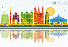 Vilnius Skyline with Color Buildings, Blue Sky and Reflections. Vector Illustration. Business Travel and Tourism Concept with Historic Architecture. Image for Vector Illustration