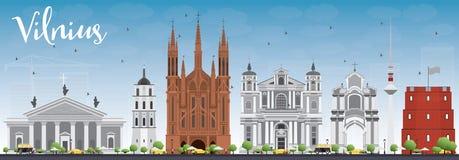Vilnius Skyline with Gray Landmarks and Blue Sky. vector illustration