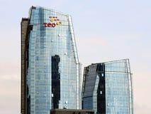 Vilnius skyskrapor på Neris flodbräde Royaltyfria Bilder