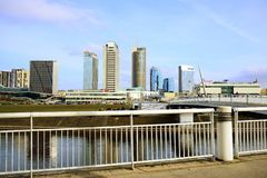 Vilnius spring panorama with skyscrapers on Neris river board Royalty Free Stock Image
