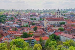 Vilnius in the spring. Panoramic views of the old town, Lithuania Stock Image