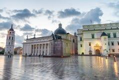 Vilnius Square at sunset, Lithuania Stock Photo