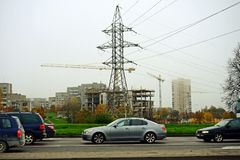 Vilnius stadsFabijoniskes område och energitorn Royaltyfri Foto