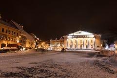 Vilnius stadshus på natten Fotografering för Bildbyråer