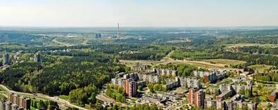 Vilnius stadshuvudstad av Litauen den flyg- sikten Royaltyfri Bild