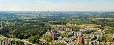 Vilnius stadshuvudstad av Litauen den flyg- sikten Royaltyfri Fotografi