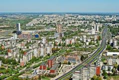 Vilnius stadshuvudstad av Litauen den flyg- sikten Royaltyfri Foto