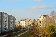 Vilnius-Stadt Pasilaiciai-Bezirk zur Frühlingszeit Stockbilder