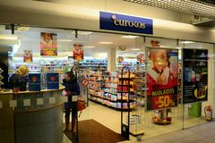 Vilnius-Stadt Seskine-Bezirk Eurokos-Shop am 24. Oktober 2014 Lizenzfreies Stockfoto