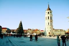 Vilnius-Stadthauptstadt des Litauen-Kathedralenplatzes Stockbild