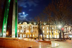 Vilnius-Stadtskulptur zu Vincas Kudirka Autor der Hymne Litauer-Republik Lizenzfreie Stockbilder
