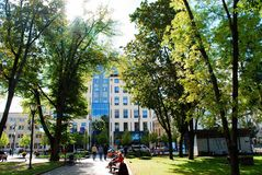 Vilnius-Stadtstadt-Kudirkos-Quadrat am 24. September 2014 Stockfotos