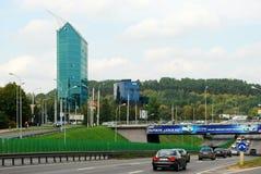 Vilnius-Stadtzentrum geschossen von Zverynas-Bezirk Lizenzfreies Stockfoto