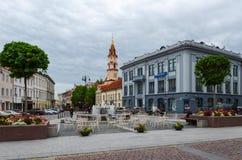 Vilnius, Street Didzioji, building Nordea Lietuva (Russian-Asian Bank), St. Nicholas Church Royalty Free Stock Photography