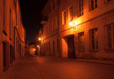 Vilnius street at night Royalty Free Stock Images