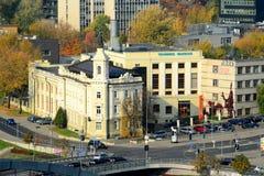 Vilnius technisch museum dat van Gediminas-torenheuvel wordt geschoten stock fotografie