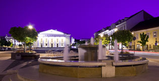 Vilnius town hall and fountain. Vilnius town hall square and fountain at night Stock Photos
