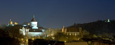 Vilnius town-scape. Night view overlooking the Vilnius town Royalty Free Stock Photography